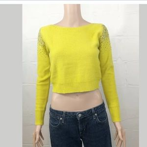 Lulumari Studded Crop Sweater S/M Yellow Long Slee